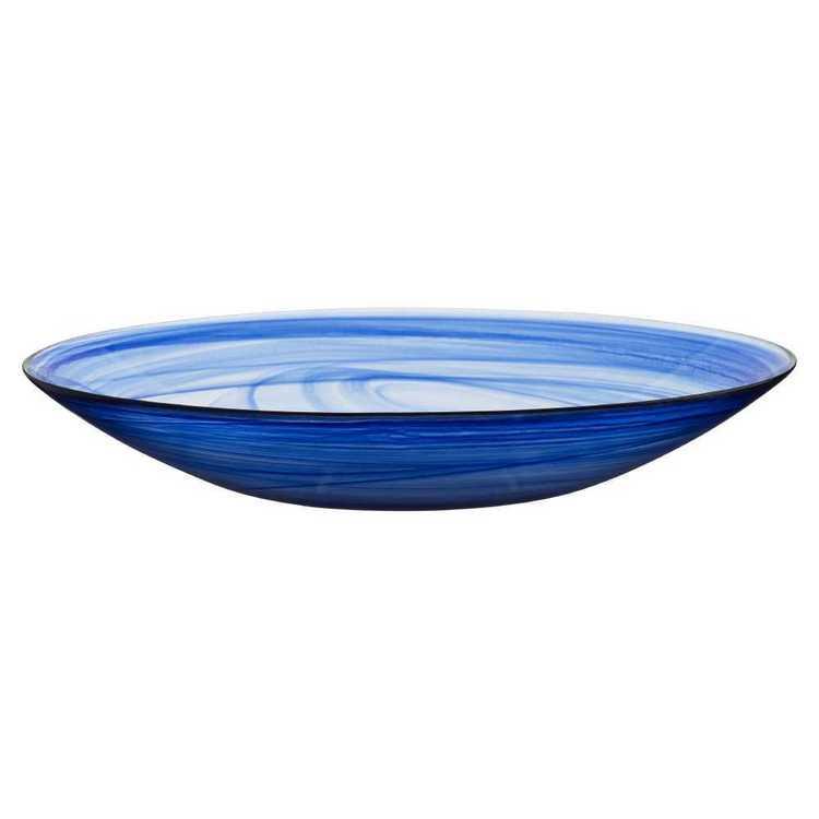 Casa Domani Cirrus Twilight Blue Glass Round Platter