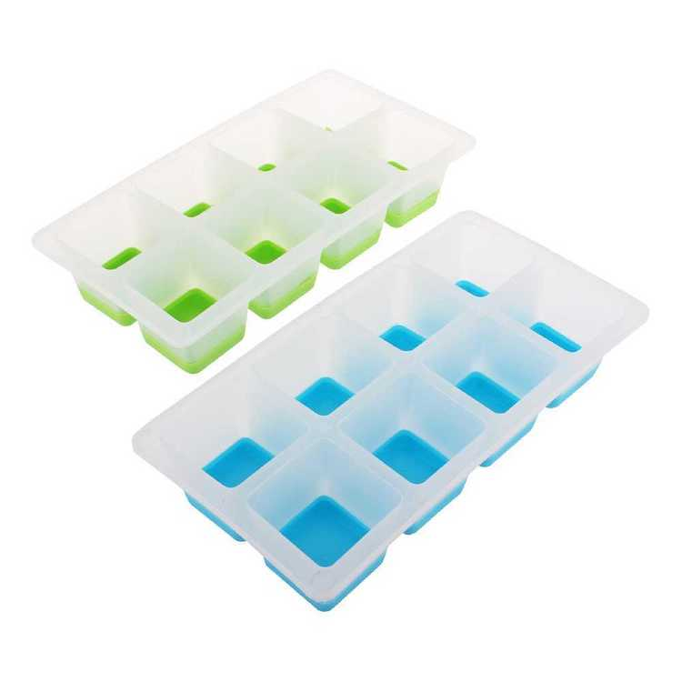 Appetito Easy Release 8 Cube Large Square Ice Tray - 2 Pack
