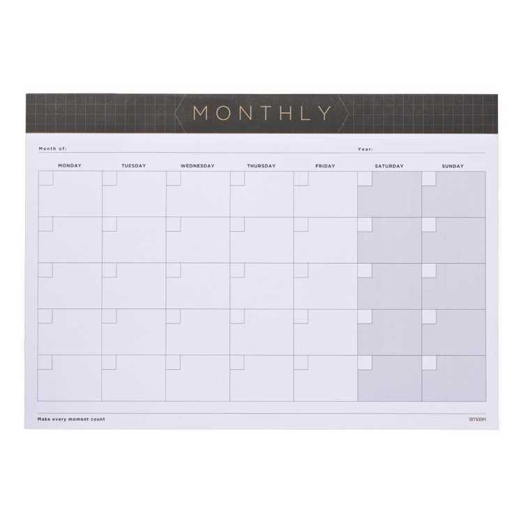 Smash Black Grid Monthly Planner