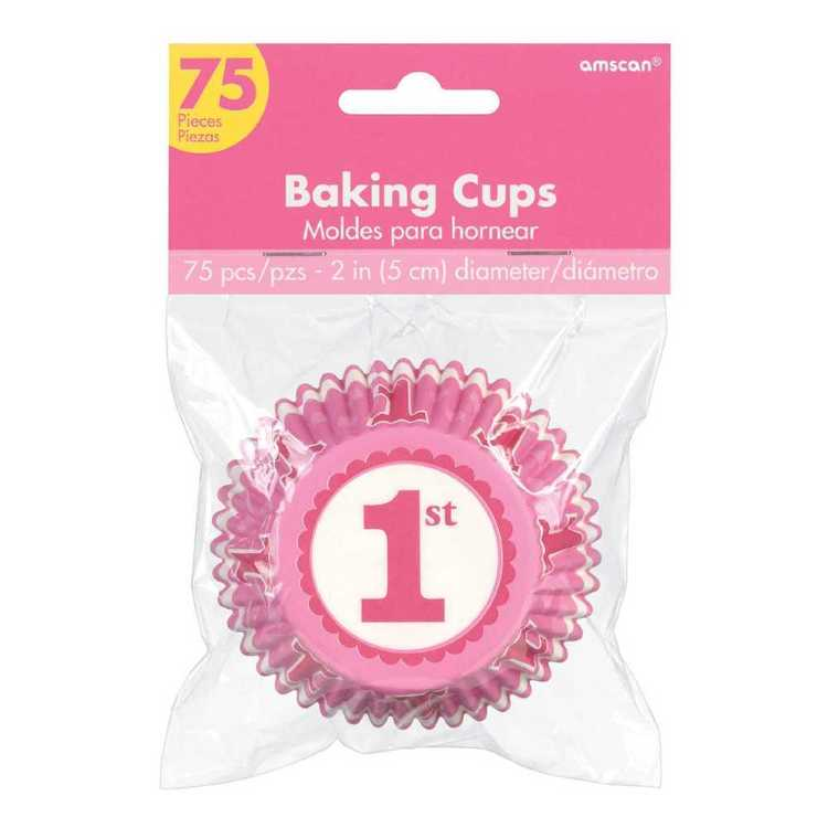 Amscan 1st Birthday Pink Cupcake Cases 75 Pack