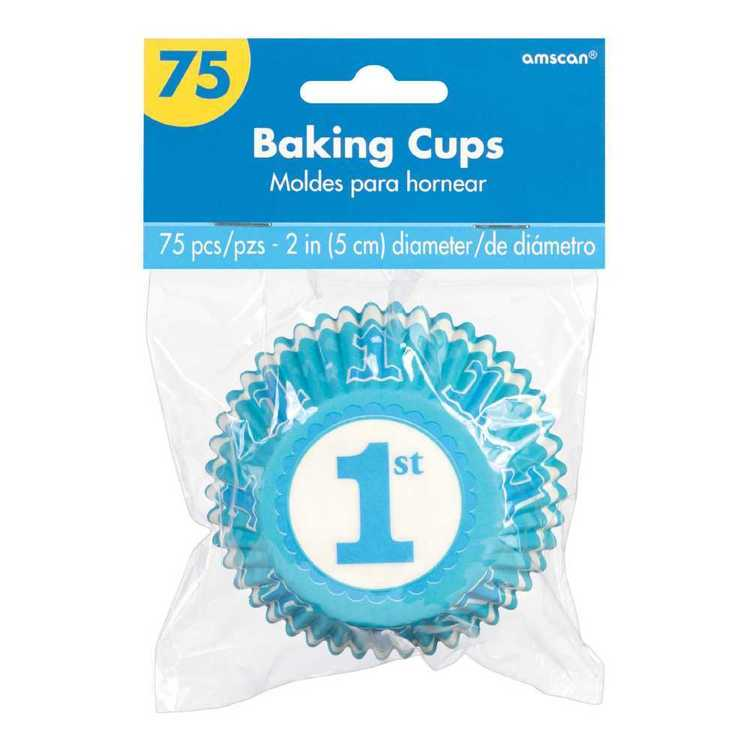 Amscan 1st Birthday Blue Cupcake Cases 75 Pack Blue