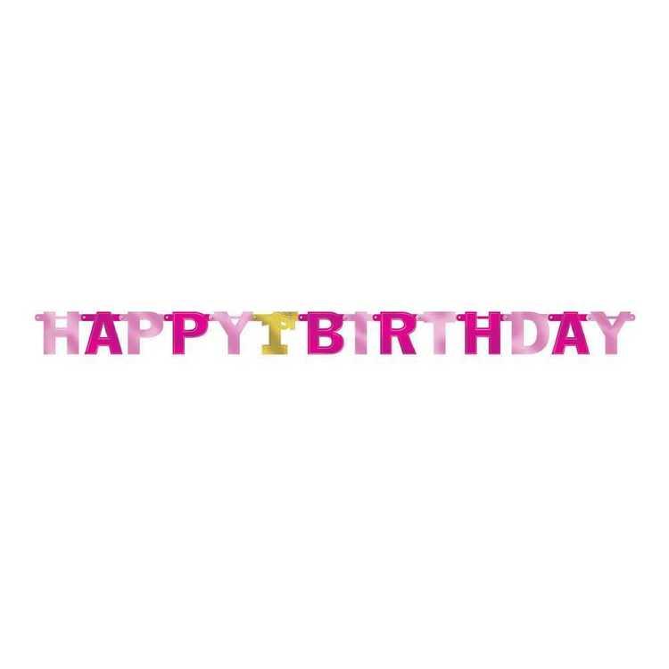 Amscan 1st Birthday Girls Letter Banner