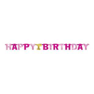 Amscan 1st Birthday Girls Letter Banner