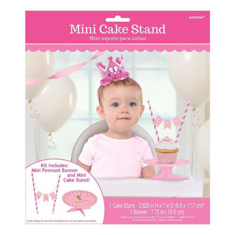 Amscan 1st Birthday Girls Mini Cake Stand Kit
