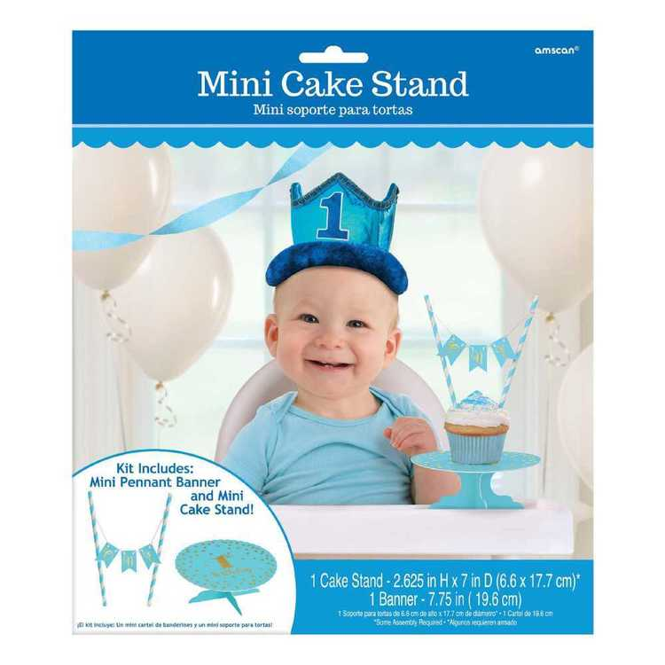 Amscan 1st Birthday Boys Mini Cake Stand Kit Blue, White & Gold