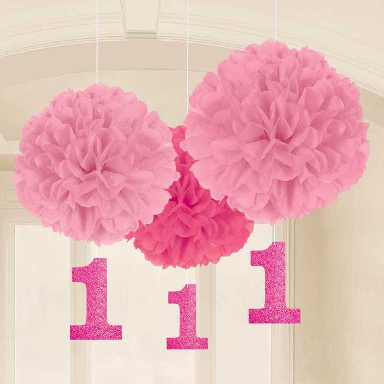 Amscan 1st Birthday Girls Fluffy Decoration 3 Pack