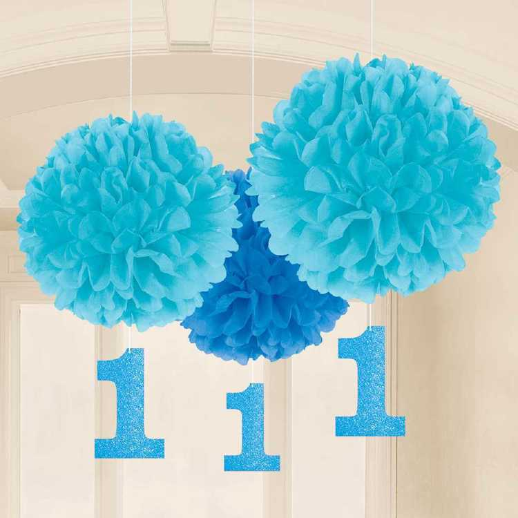 Amscan 1st Birthday Boys Fluffy Decoration 3 Pack