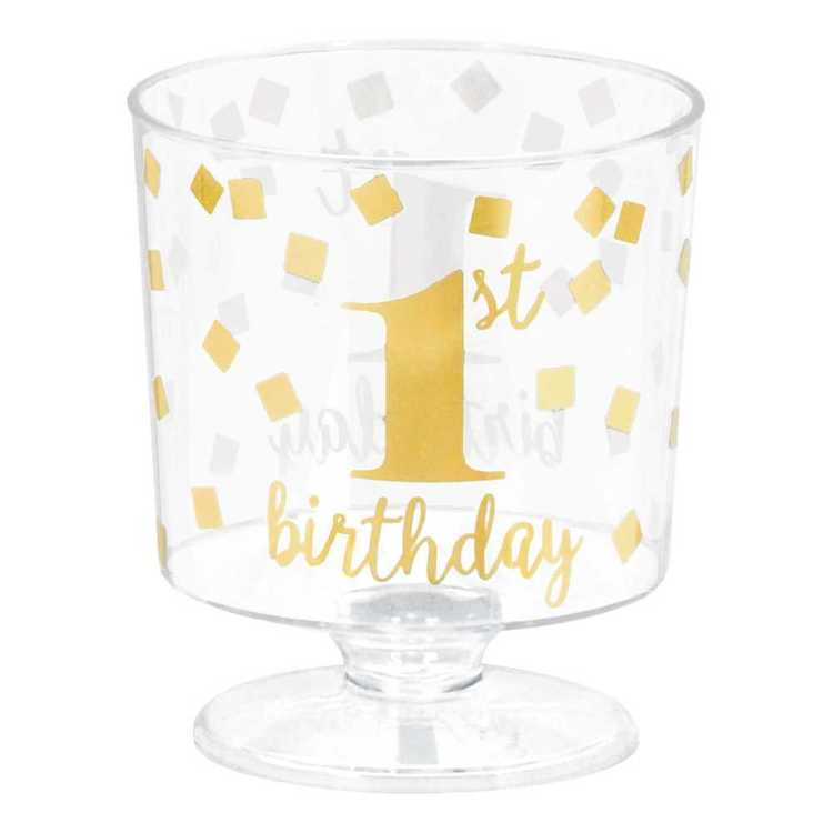 Amscan 1st Birthday Mini Plastic Pedestal Cups 30 Pack