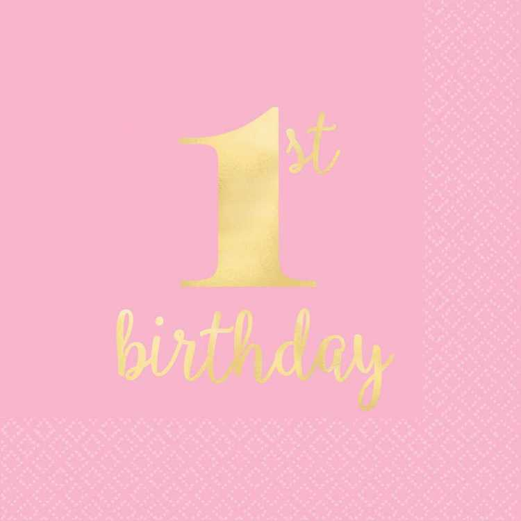 Amscan 1st Birthday Pink Beverage Napkins 16 Pack