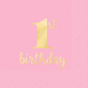 Amscan 1st Birthday Pink Beverage Napkins 16 Pack
