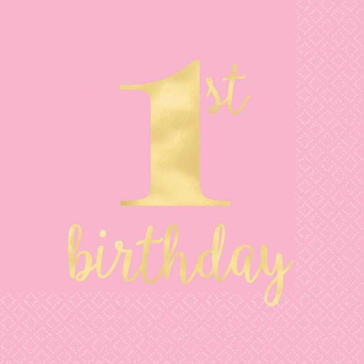 Amscan 1st Birthday Pink Lunch Napkins 16 Pack Pink & Gold