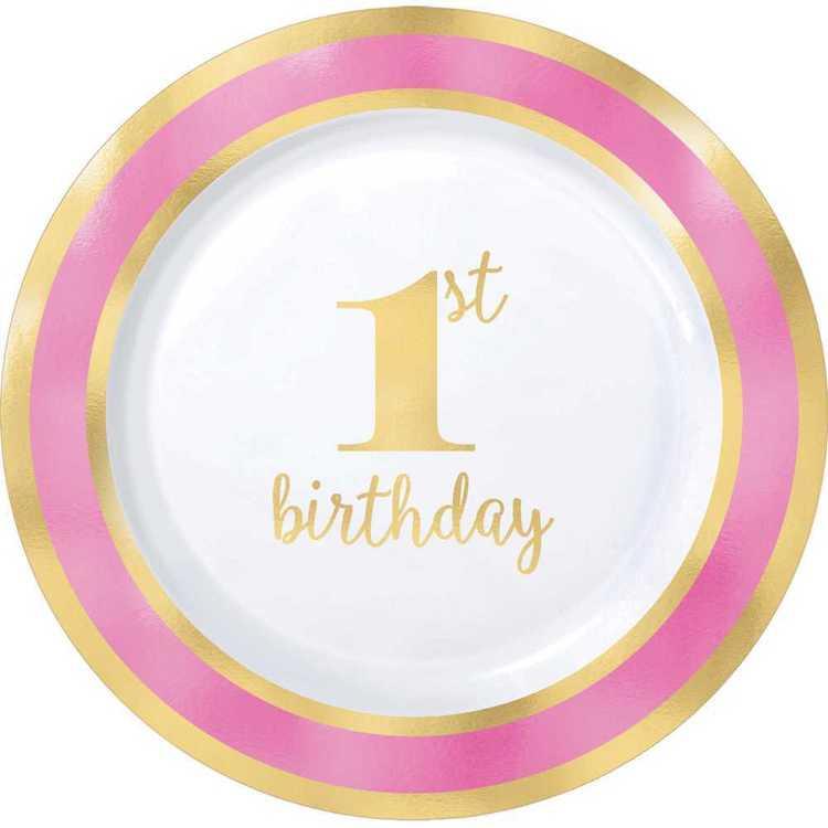 Amscan 1st Birthday Pink Plastic Round Plates 10 Pack