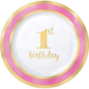 Amscan 1st Birthday Pink Plastic Round Plates 10 Pack