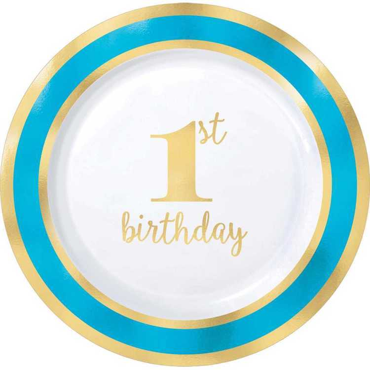 Amscan 1st Birthday Blue Plastic Round Plates 10 Pack