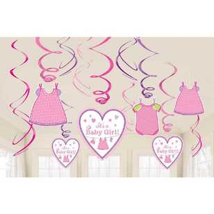 Amscan Shower With Love Girls Swirl Decorations