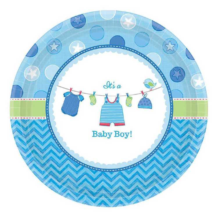 Amscan Shower With Love Boys Round Plate