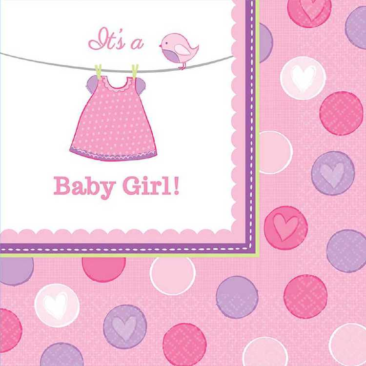 Amscan Shower With Love Girls Lunch Napkin Pink