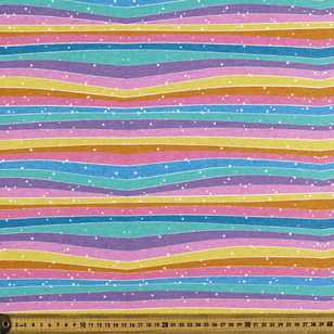 Rainbow Wave Printed Comb Cotton Jersey Fabric