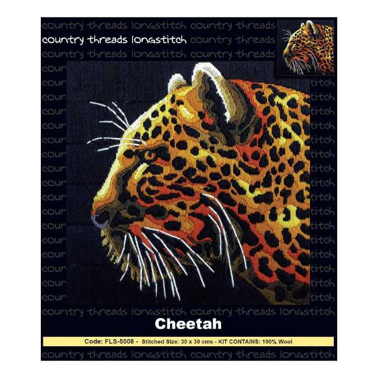 Country Threads Cheetah Long stitch Kit Multicoloured