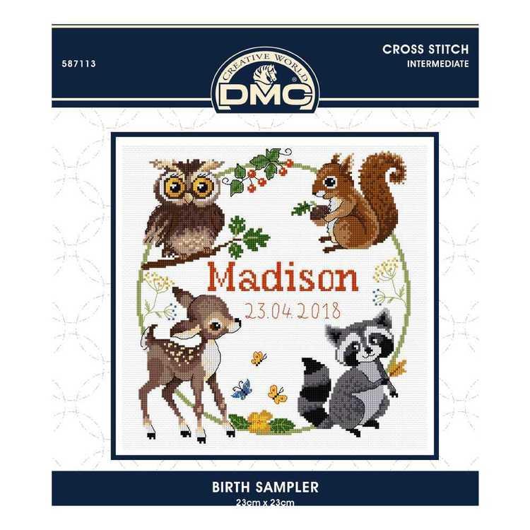 Dmc By Leutenegge Birth Sampler Cross Stitch Kit