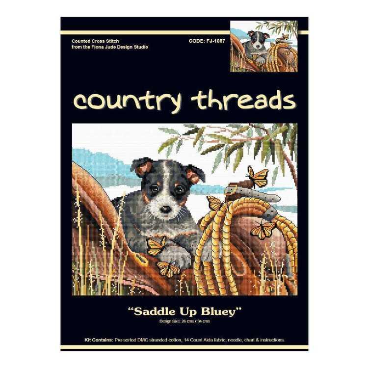 Country Threads Saddle Up Bluey Cross Stitch Kit