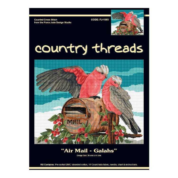 Country Threads Air Mail Galahs Cross Stitch Kit