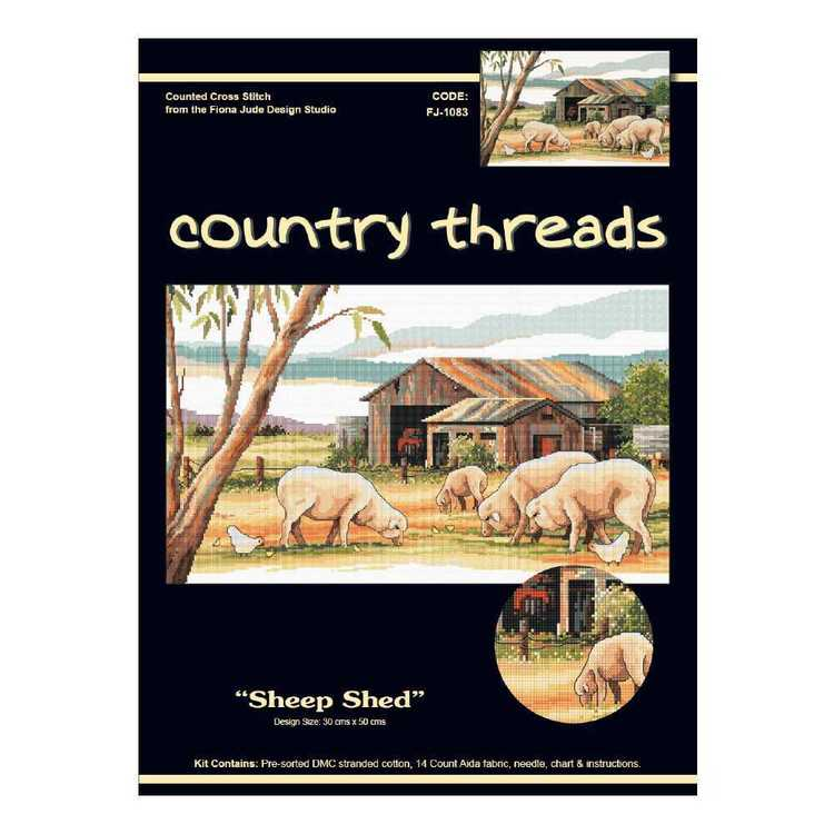 Country Thtreads Sheep Shed Cross Stitch Kit