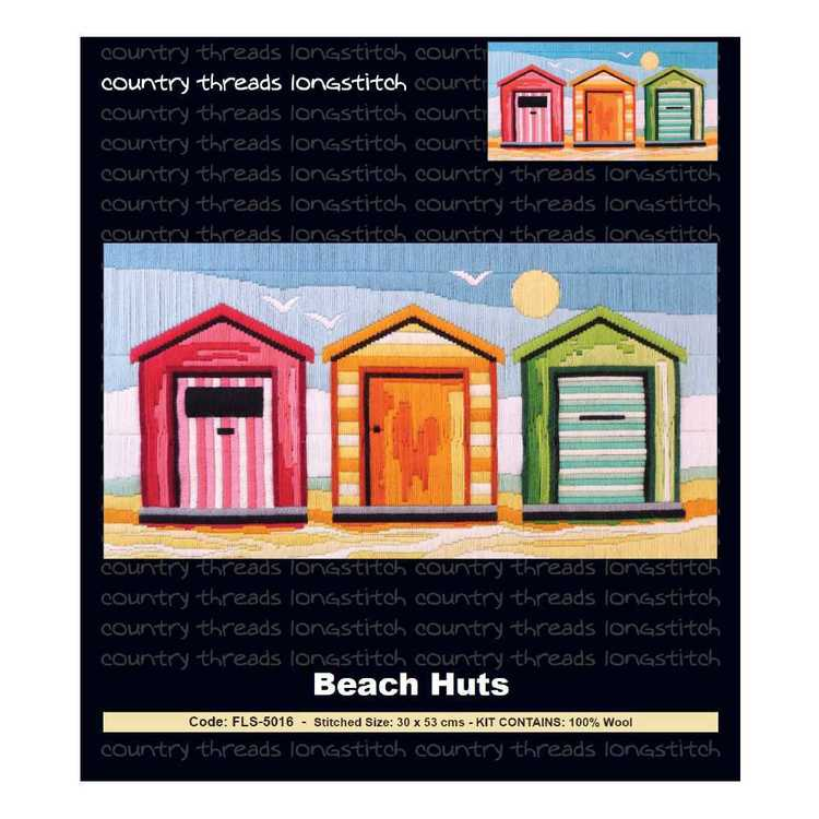 Country Threads Beach Hut Long stitch Kit Multicoloured
