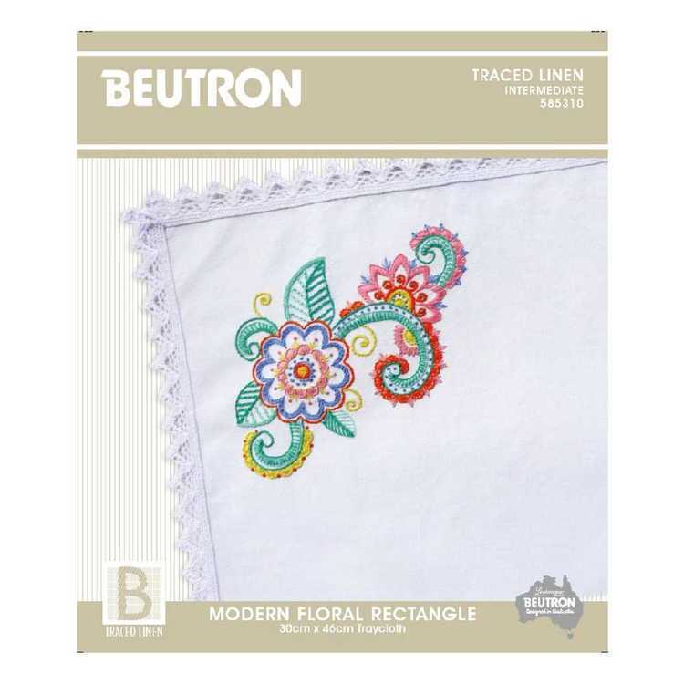Beutron Modern Floral Tray cloth Embroidery Kit Multicoloured