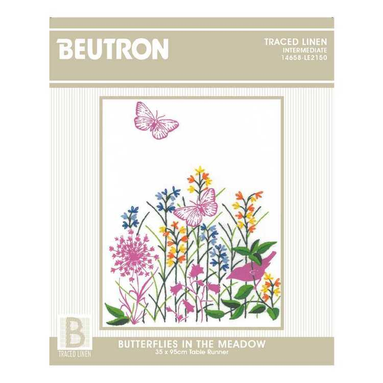 Beutron Butterflies In The Meadow Runner Embroidery Kit Multicoloured