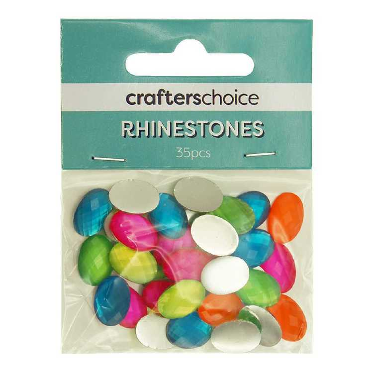 Crafters Choice Faceted Oval Rhinestone Gems 35 Pack