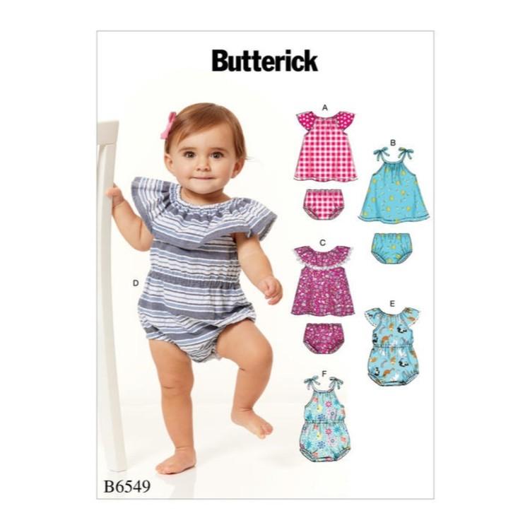 Butterick Pattern B6549 Infants Romper, Dress And Panties