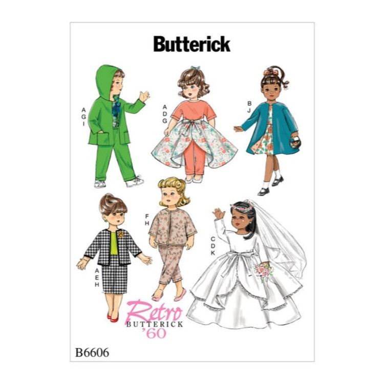 "Butterick Pattern B6606 Retro Butterick Clothes For 18"" Doll"