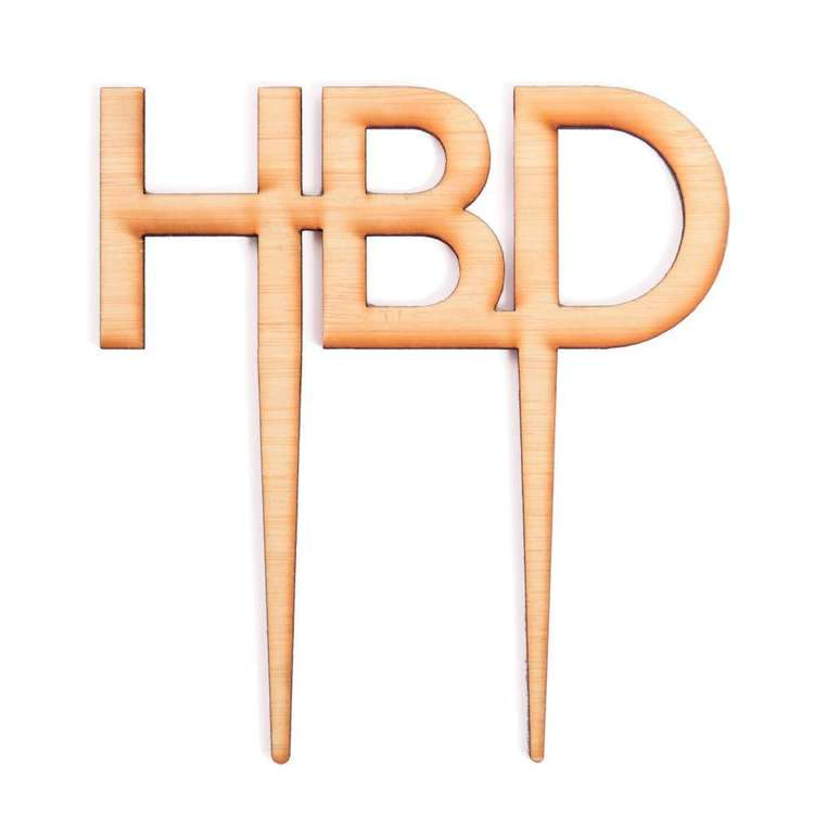 Roberts Edible Craft Wooden Cake Topper - Happy Birthday Natural