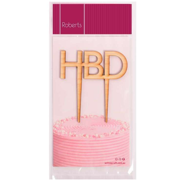 Roberts Edible Craft Wooden Cake Topper - Happy Birthday