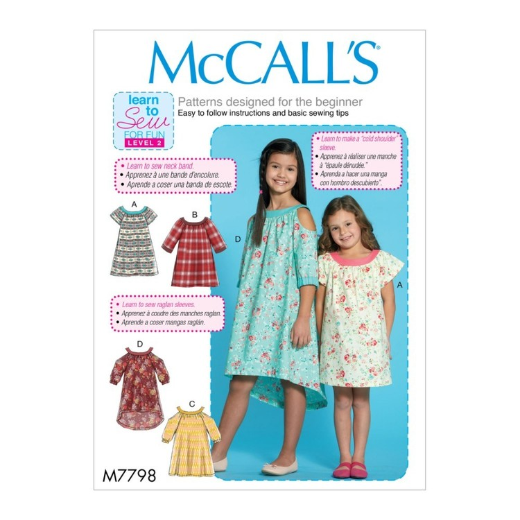 McCall's Pattern M7798 Learn To Sew For Fun Children's & Girls' Dresses
