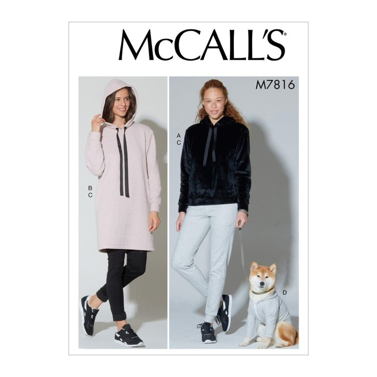 McCall's Pattern M7816 Misses' Top, Dress, Pants And Dog Coat