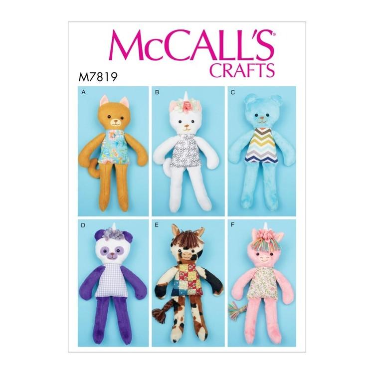McCall's Pattern M7819 Soft Toy Animals
