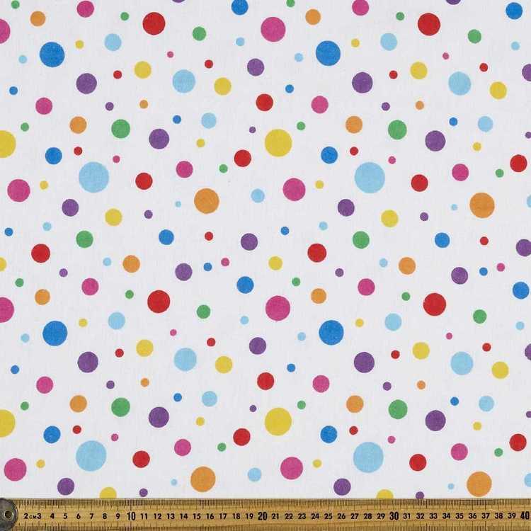Rainbow Spot Printed 112 cm Flannelette Fabric