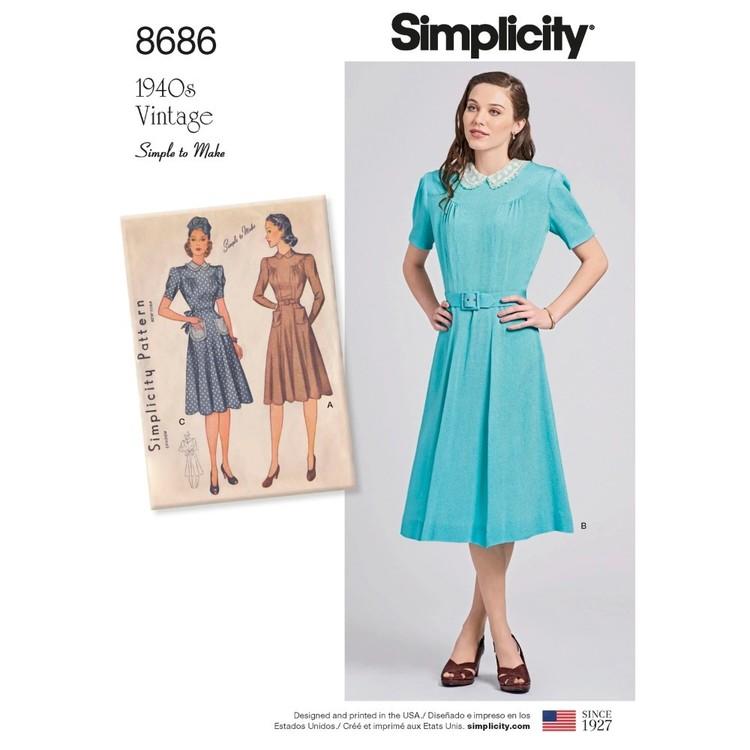 Simplicity Pattern 8686 Misses' Vintage Dresses