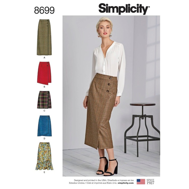 Simplicity Pattern 8699 Misses' Wrap Skirts With Length Variations