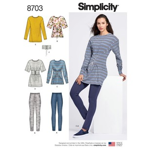 Simplicity Pattern 8703 Misses' Knit Leggings, Tops, And Belt