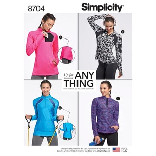 Simplicity Pattern 8704 Misses' Knit Pullover Athleisure Tops