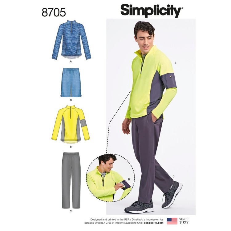 Simplicity Pattern 8705 Men's Pants & Shorts And Knit Pullover Top