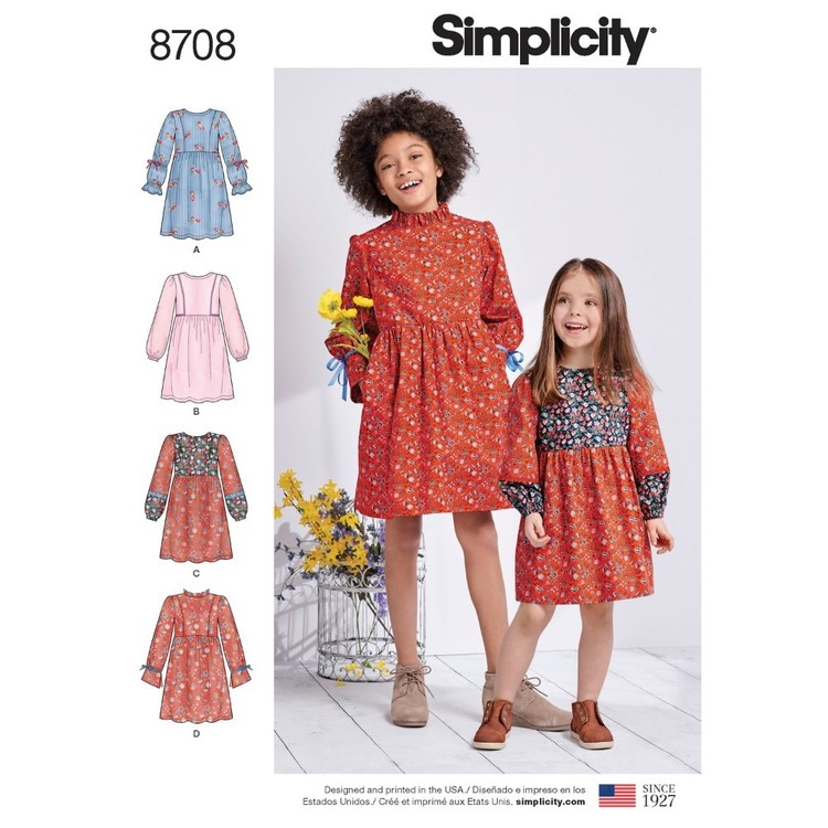 Simplicity Pattern 8708 Child's And Girls' Dress With Sleeve Variations