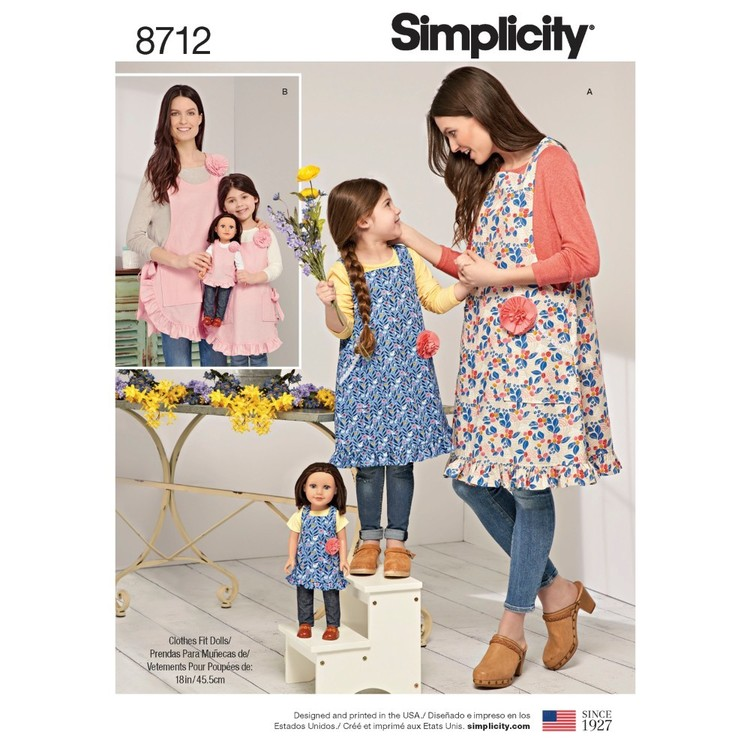 "Simplicity Pattern 8712 Child's, Misses', And 18"" Doll Aprons"