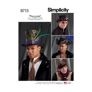 Simplicity Pattern 8713 Men's Hats In Three Sizes
