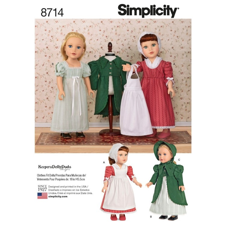 Simplicity Pattern 8714 18-Inch Doll Clothes