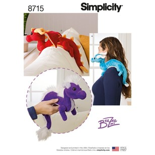 Simplicity Pattern 8715 Stuffed Dragons