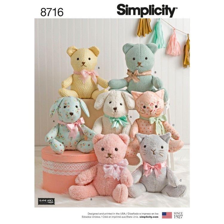 Simplicity Pattern 8716 Stuffed Animals